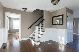 spokane-interior-painting-of-residential-home-with-brown-walls-and-white-trim-and-stairs